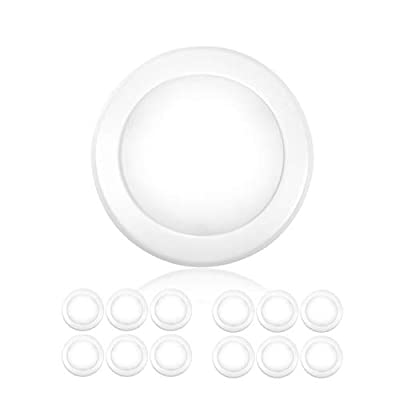 "Parmida (12 Pack) 5/6"" Dimmable LED Disk Light Flush Mount Recessed Retrofit Ceiling Lights, 15W (120W Replacement), 5000K (Day Light), Energy Star, Installs into Junction Box Or Recessed Can, 1050lm"