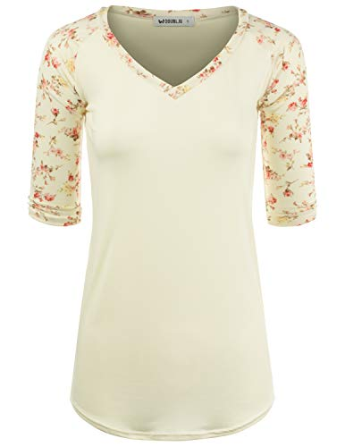 Doublju Women's School Uniform Top Raglan 3/4 Sleeve V-Neck Shirt, IVORYPINK M ()