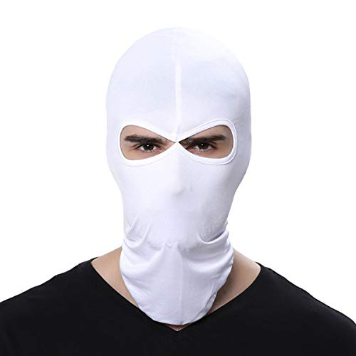 FENTI Lycra Sport Balaclava with Eye Hollow, Motorcycle Ski Cycling Face Mask , White , One Size