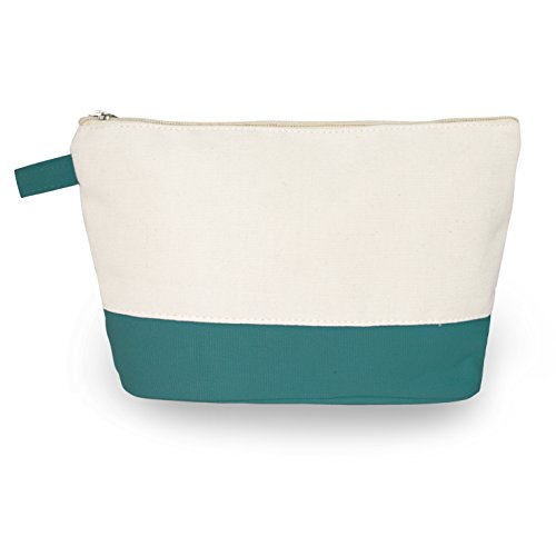 - Cotton Canvas Two-Tone Cosmetic Bag Make Up Clutch Bag (10