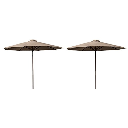 Destination Gear Classic Wood Chocolate 9' Polyester Market Umbrellas, 2-Pack