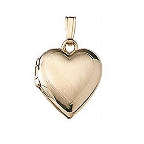 Solid 14K Yellow Gold Small Heart Locket 1/2 Inch X 1/2 Inch Solid 14K Yellow Gold