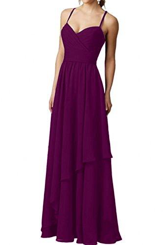 Formal Festlichkleider Braut mia La Ballkleider Abendkleider Elegant Fuchsia Chiffon Dunkel Brautjungfernkleider Partykleider Langes nzz5w1xvA