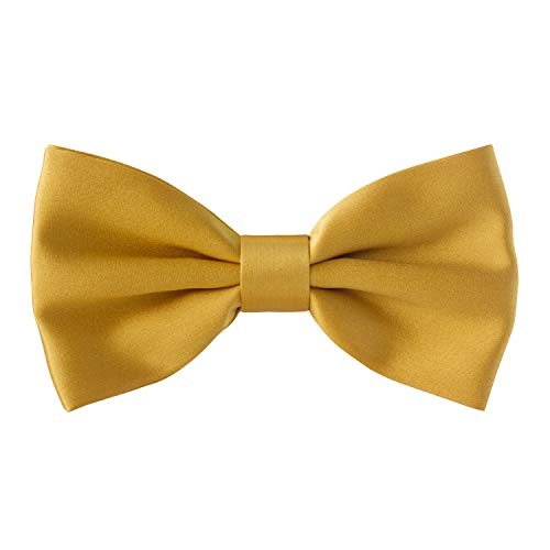 Real Silk Classic Pre-Tied Bow Tie Formal Solid Tuxedo, by Bow Tie House (Medium, Gold) ()