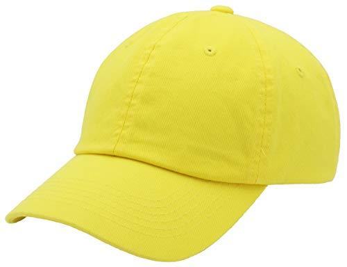 43fe8e45 Top Level Baseball Cap for Men Women - Classic Cotton Dad Hat Plain Cap Low  Profile, YEL Yellow