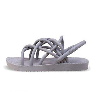Los hombres sandalias confort par zapatos casual de resorte de goma de microfibra gris plana en blanco y negro,negro Gray