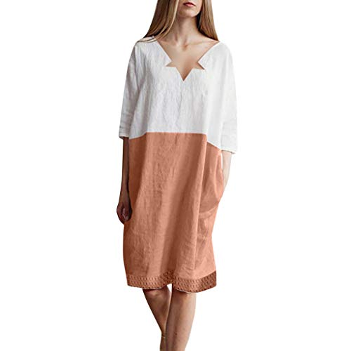 CapsA Maxi Dress for Women Summer Casual T Shirt Dresses Swing Dress with Pockets Patchwork 1/2 Sleeved Orange