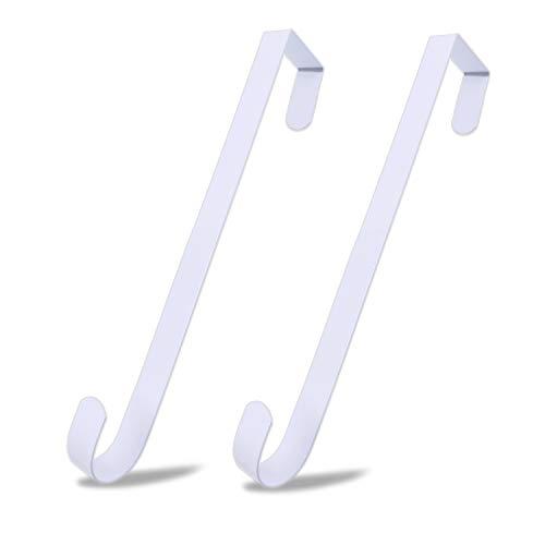 ESFUN 2 Pack Solid Wreath Hanger for Front Door Window Wreath Hooks Holder Over The Door Metal Hook Hangers (White, 12 inch) (Hangers Door Wreath)