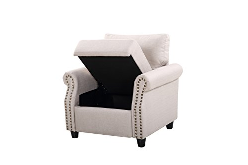 2 Piece Classic Linen Fabric Living Room Sofa and Armchair Furniture Set with Nailhead Trim (Beige)