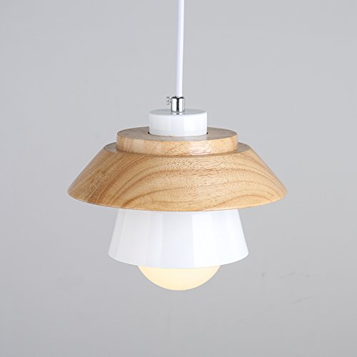 Modern Pendant Light Art Deco Lighting Fixture Loft Pendant Lamp, 1-Light Ceiling Light Adjustable Hanging Height, Ceiling Mounted, Wooden Decoration Style (White) by Chrasy (Image #2)