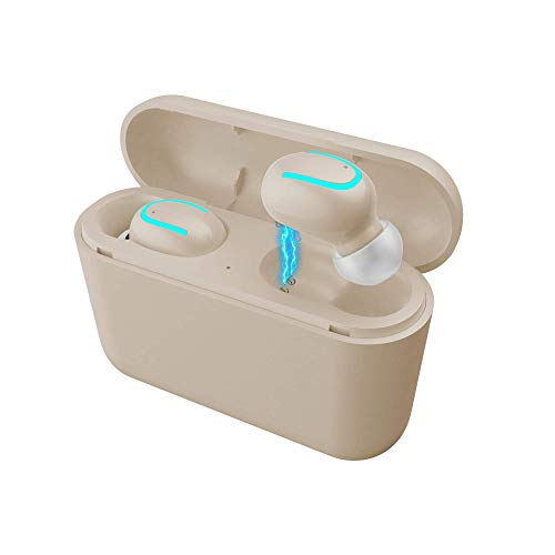 Byoung Wireless Earbuds 5.0 Bluetooth, in Ear Stereo Cordless Earphones with Charging Case, Built-in Microphone for Running Sport Workout Noise Canceling Smart Bluetooth Headphone Headset - Beige