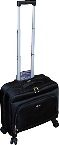 Kemyer Small Overnighter Rolling Spinner Briefcase with Tablet Compartment Black (Black)
