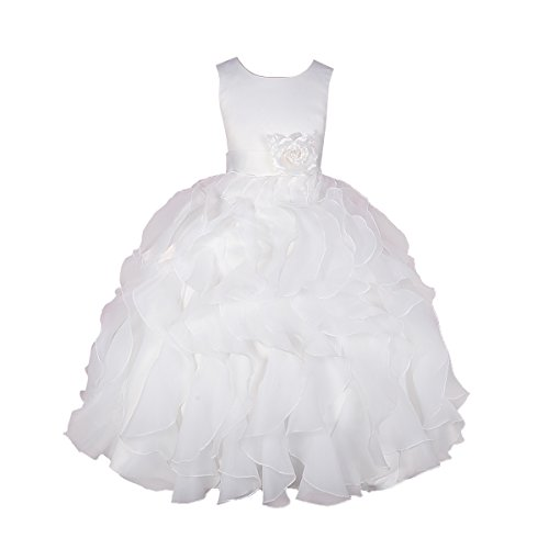 Dressy Daisy Girls' Satin Organza Ruffle Flower Girl Dresses Pageant Gown Party Communion Occasion Dress Size 8 Ivory ()