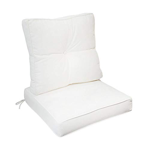 MH GLOBAL White Deep Seat Back Rest Cushion Pillow Outdoor Polyester Water Repellent Pipe Trim 24