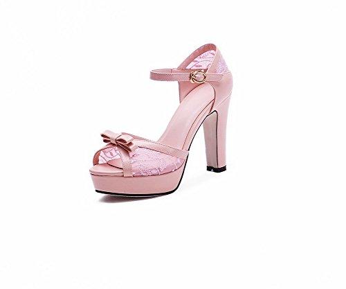 VogueZone009 Women's Soft Material Solid Buckle Peep Toe High Heels Sandals Pink