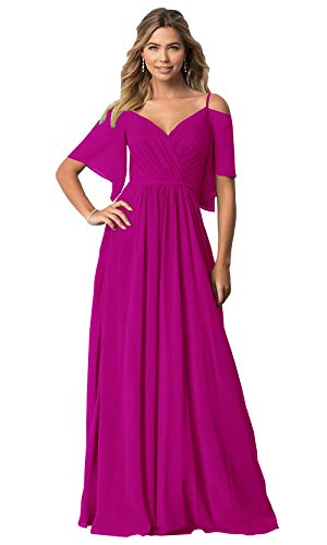 - KKarine Women's Ruffled Chiffon Cold Shoulder V Neck Formal Evening Gown Long Prom Dress (6 Hot Pink)