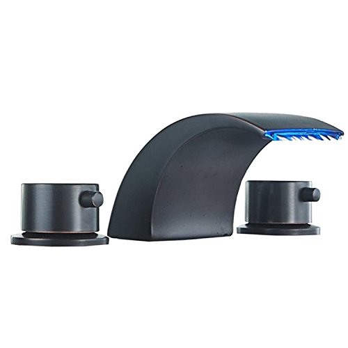 Homevacious Widespread Bathroom Sink Faucet Led Light Waterfall Oil Rubbed Bronze Bath Tub 8-16 inch 2 Handles 3 Holes Black Commercial Lavatory Faucets Modern Contemporary Basin Mixer Tap ()
