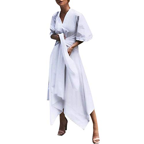 (kemilove Women Long Dress with Sleeves,Women V Neck Short Sleeve Evening Party Dress Asymmetrical Cross Belt Long Dress White)