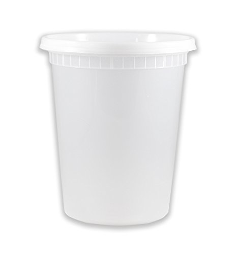 (EDI Plastic Food Storage Plastic Containers with Lids Set, Pack of 50 Deli Containers (50, 32 oz))