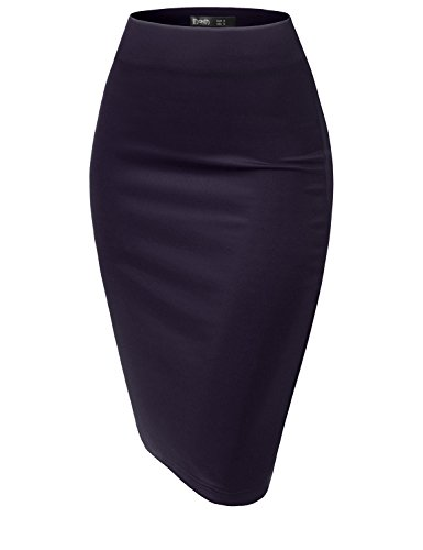TWINTH Women Stretch Knit Midi Bodycon Pencil Skirt for Work Party Navy M