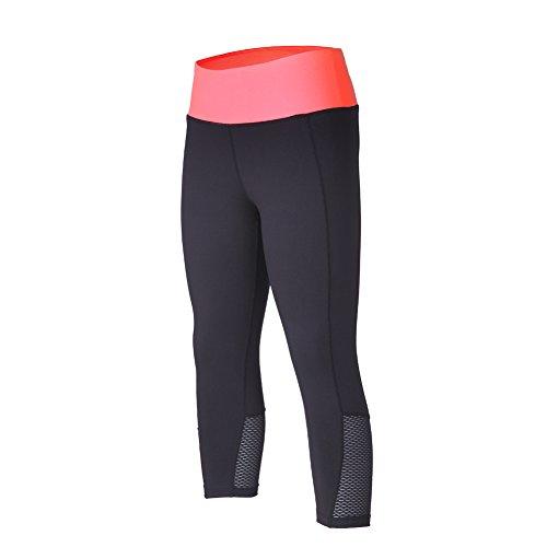 beroy Women's Active Workout Compression 3/4 Tights Yoga Training Capri Leggings-Plus Size(XXX-Large,Coral)