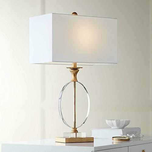 White Rectangular Table Lamp - Valerie Modern Table Lamp Gold Clear Crystal Glass White Rectangular Shade for Living Room Bedroom Bedside Nightstand Office - Vienna Full Spectrum