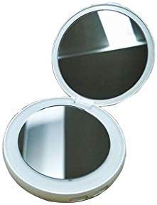 BLXFN ポータブルLED照明付き化粧鏡、ベストコンパクトミラー、ハンドヘルド、ポータブル折りたたみ式ミラー(丸型)