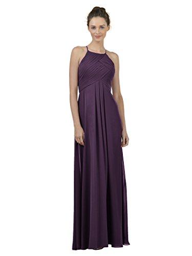 Alicepub Long Chiffon Bridesmaid Dress Maxi Evening Gown A Line Plus Party Dress, Grape, US24