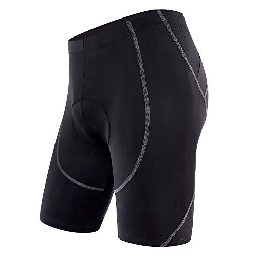 (Sportneer Men's Cycling Shorts Biking Bike Bicycle Pants Half Pants 4D Coolmax Padded, Comfort, Anti-Slip Design, Breathable & Absorbent, M)