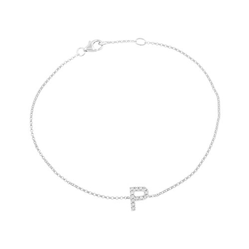 14k White Gold Diamond Studded Letter ''P'' Initial Bracelet, 7.5'' by Isha Luxe-Initials