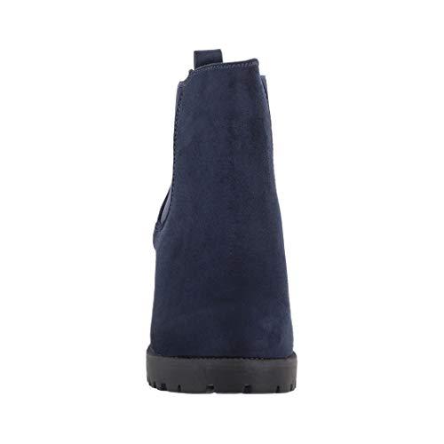 Stivaletto profilo Chelsea Plateau Stivali Chelsea foderato Dk Elara Donna suola blue Comodo Boots WnqXWT0I