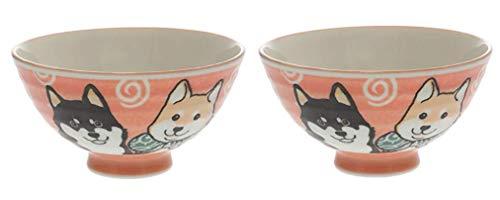 Bowl Ceramic Red Dog Design - Japanese Shiba dog Red Rice Bowl Set, 4.92
