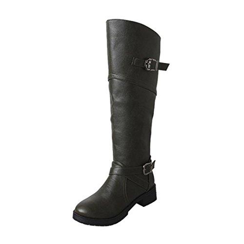 cc78baf6f83a8 Kaicran Mode Boucle Bottes Femmes Pu Cuir Chevalier Boucle Dames Bottes  Plat Martin Chaussures Vert
