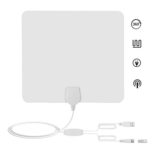 Ocamo 80 Mile HDTV Indoor Antenna Aerial HD Digital TV Signal Amplified Booster & Cable white