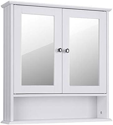 Choochoo Bathroom Medicine Cabinet 2 Door Bathroom Wall Cabinet Wood Hanging Cabinet With Adjustable Shelves Medicine Cabinet With Mirror White Buy Online At Best Price In Uae Amazon Ae
