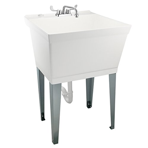 Nearly Indestructible Laundry Utility Tub by MAYA - Heavy Duty 19 Gallon Sink With Easy On Blade Handle Faucet, Metal Legs With Levelers, Complete Installation Kit Includes Supply Lines, Drain - Utility Single Boxes Rail