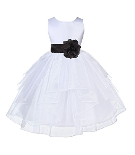 (ekidsbridal White Shimmering Organza Flower Girl Dresses Daily Dresses Pageant Gown 4613S 6)