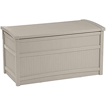 Suncast 50-Gallon Medium Deck Box - Lightweight Resin Indoor/Outdoor Storage Container and Seat for Patio Cushions and Gardening Tools - Store Items on Patio, Garage, Yard - Gray