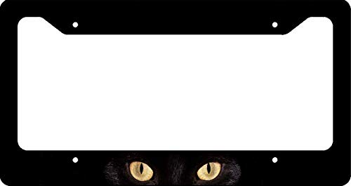 Cat Eye License Plate Frame - License Plate Frame - Black Cat Yellow Eyes Auto Car Novelty Accessories License Plate Art