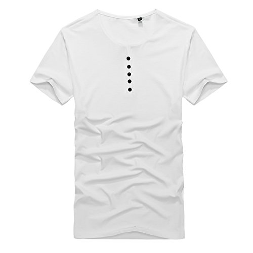 M-LORD (TM) Men's/Big Boys Plain Color Fitted Short Sleeve Round Neck T-shirt Tops White US Size XL