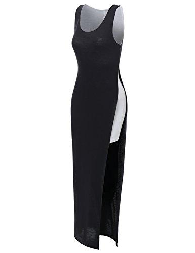 J.TOMSON Womens Scoop Neck Sleeveless Jersey Maxi Dress BLACK S