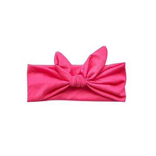 1 Pc Women Elastic Stretch Plain Rabbit Bow Style Hair Band headband Turban Hairband Hair Accessories,Rose