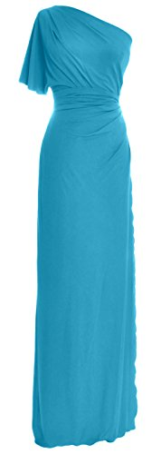 MACloth Elegant One Shoulder Simple Prom Gown Jersey Wedding Party Formal Dress Turquoise