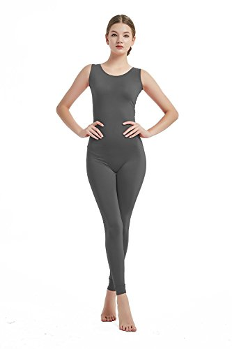 Full Bodysuit Womens Sleeveless Bodysuit One Piece Jumpsuit Lycra Spandex Stretch Zentai Unitard (Large, Dark Grey)