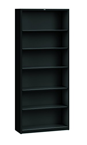 HON Brigade Metal Bookcase - Bookcase with Six Shelves, 34-1/2w by 12-5/8d by 81-1/8h, Black (Six Metal)