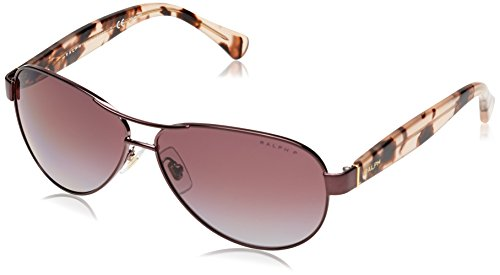 Ralph by Ralph Lauren Women's 0ra4096 Polarized Aviator Sunglasses, ROSE, 59.0 mm (Lauren Sunglasses Ralph)