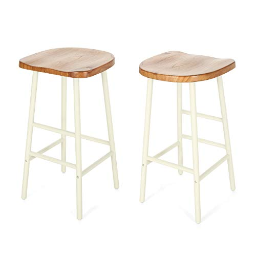 Pine Kitchen Stools - Christopher Knight Home 307504 Jean Bar Stools, Pine Veneer, Iron Frame, Naturally Stained Seats with White Base (Set of 2),