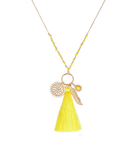 (Long Necklaces Bohemia Tassel Leaf Teardrop Disk Circle Pendant Necklace for Women Girls Y Shaped Necklace Sets (Yellow) )