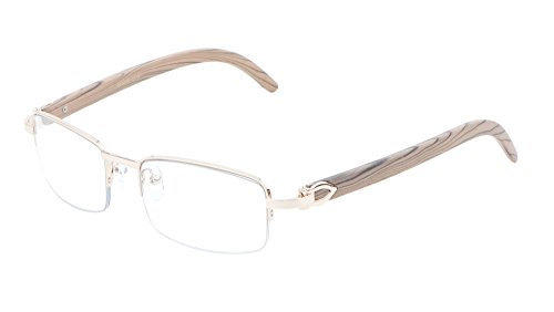 Debonair Slim Half Rim Rectangular Metal & Wood Eyeglasses/Clear Lens Sunglasses - Frames (Rose Gold & Light Brown Wood, Clear)