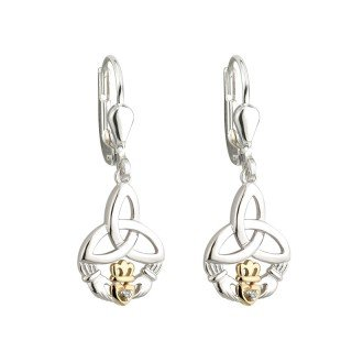 Claddagh & Trinity Knot Diamond Earrings Silver & 10K Irish Made by Failte